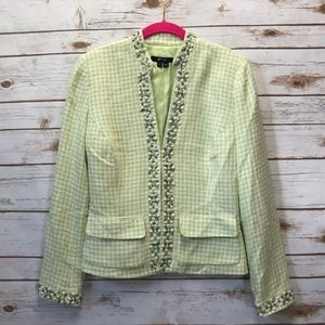 ECI Sz 4 Green Houndstooth Jewel/Pearl Silk Blazer
